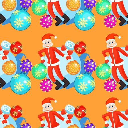 klaus: seamless pattern christmas balls and Santa Claus on orange background vector illustration Illustration