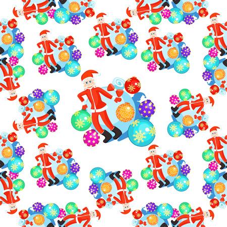 seamless pattern christmas balls and Santa Claus smiling vector illustration
