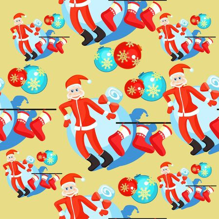 seamless pattern christmas balls and Santa Claus, Christmas socks on a gold background vector illustration