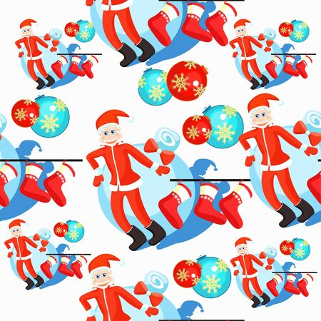 seamless pattern christmas balls and Santa Claus, Christmas socks on a white background vector illustration