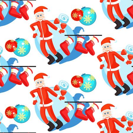 seamless pattern christmas balls and Santa Claus, Christmas socks vector illustration