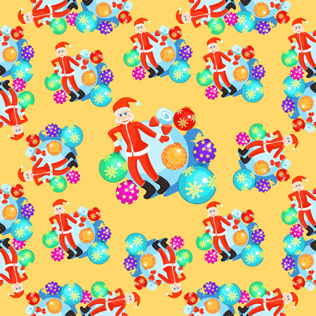 seamless pattern Christmas balls and smiling Santa Claus on orange background vector illustration Иллюстрация
