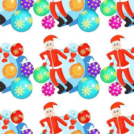 seamless pattern Christmas balls Santa Claus vector illustration
