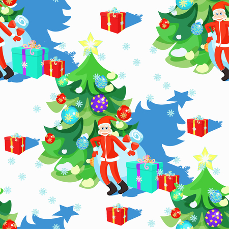 klaus: seamless pattern of Santa Claus and Christmas tree in Christmas balls vector illustration