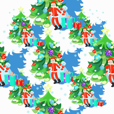 klaus: seamless pattern of Santa Claus and fishbone in Christmas balls vector illustration