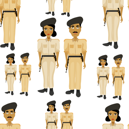 bronzed: seamless pattern Indian policeman and a woman police officer illustration Illustration