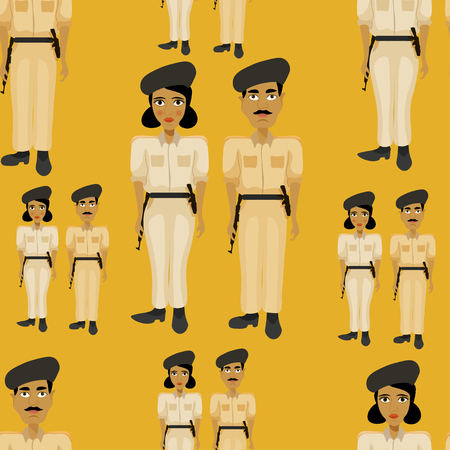 bronzed: seamless pattern Indian policeman, and police officer woman on an orange background illustration Illustration