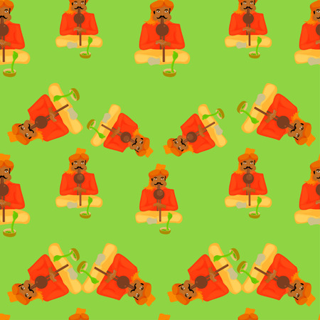 snake charmer: seamless pattern Indian snake charmer on a green background illustration