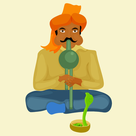snake charmer: snake charmer playing the instrument illustration
