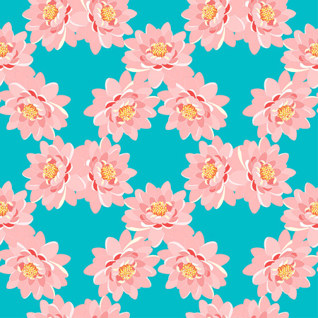 seamless pattern the lotus flower pink on a blue background illustration