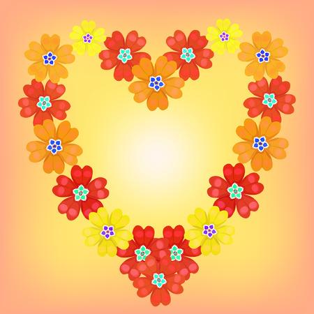 primula: background spring primroses primula flowers red heart shines vector illustration