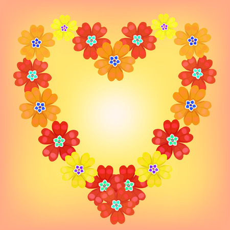 background spring primroses primula flowers red heart shines vector illustration