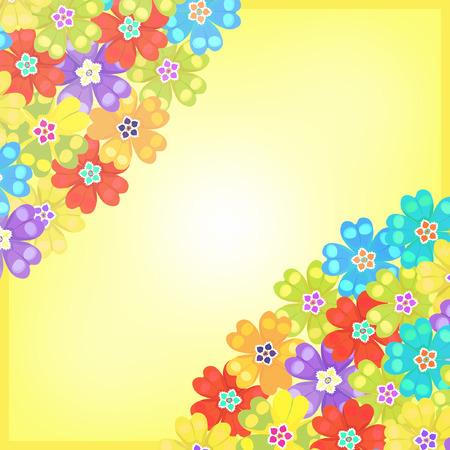 polyanthus: card of spring Polyanthus primrose yellow flowers vector illustration