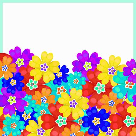 polyanthus: card of spring Polyanthus primula flowers vector illustration Illustration