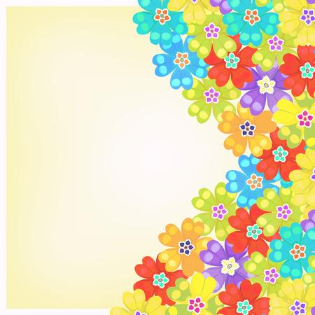 primula: card of spring primula flowers vector illustration