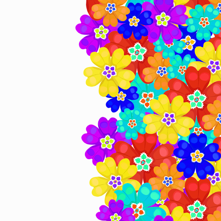 primula: card spring primroses primula flowers vector illustration