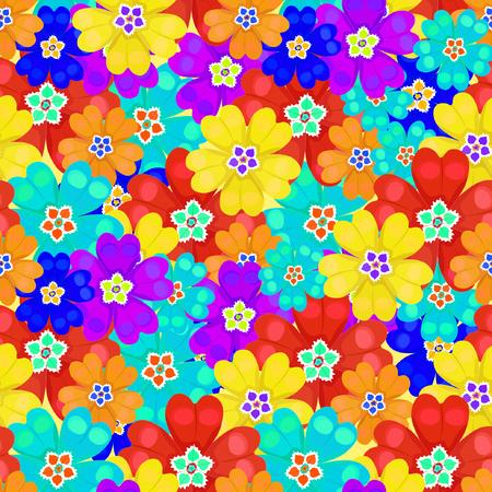 polyanthus: seamless pattern bright spring Polyanthus primula flowers vector illustration Illustration