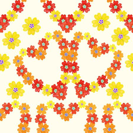 polyanthus: seamless pattern spring Polyanthus primula flowers heart vector illustration