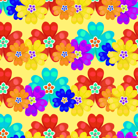 primula: seamless pattern spring Polyanthus primula flowers on a yellow background vector illustration Illustration