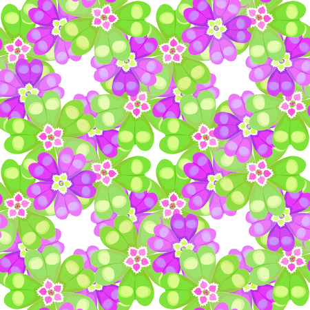 polyanthus: seamless pattern spring Polyanthus primula flowers purple and green vector illustration