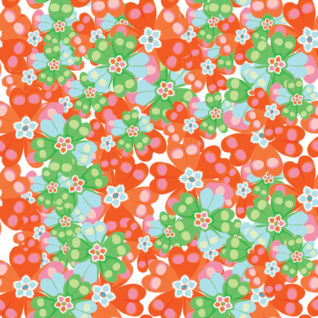 polyanthus: seamless pattern spring Polyanthus primula flowers red and green vector illustration Illustration