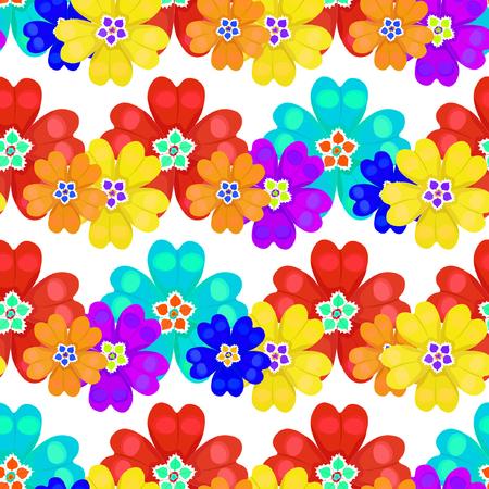 seamless pattern spring Polyanthus primula flowers vector illustration Illustration