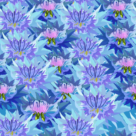 closely: seamless pattern of wild flowers knapweed closely spaced vector illustration Illustration