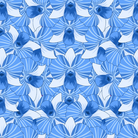 gaps: seamless pattern blue Orchidea Dendrobium without gaps vector illustration