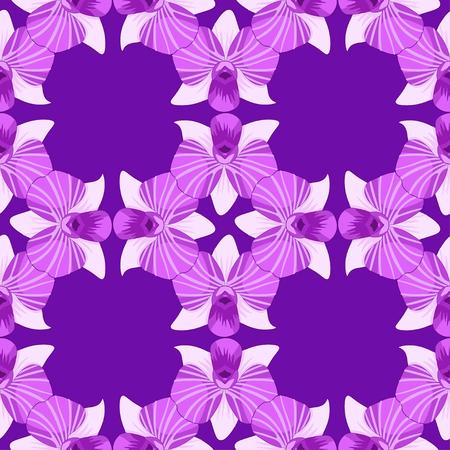 orchidea: seamless pattern Orchidea violet dendrobium vector illustration Illustration