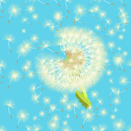 seamless pattern dandelion in the wind shatters close up vector illustration