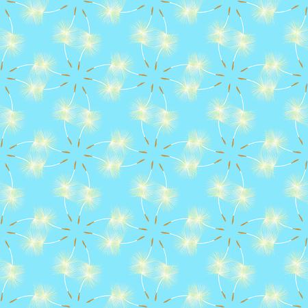 pistil: seamless pattern pistil dandelion in the wind disperses on a sky background vector illustration