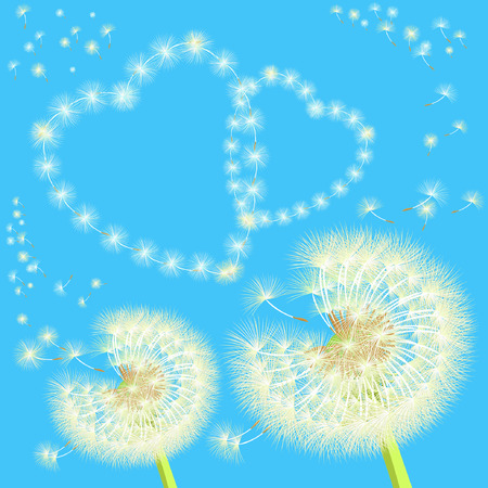 overblown: background with a pair of dandelions and hearts projector illustration Illustration