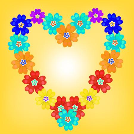 primula: background spring primroses primula flowers blue heart glow vector illustration