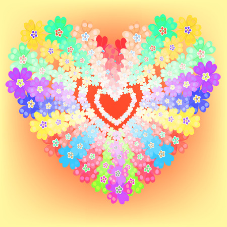 glows: background spring primroses primula flowers heart glows vector illustration Illustration