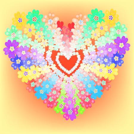 background spring primroses primula flowers heart glows vector illustration Illustration