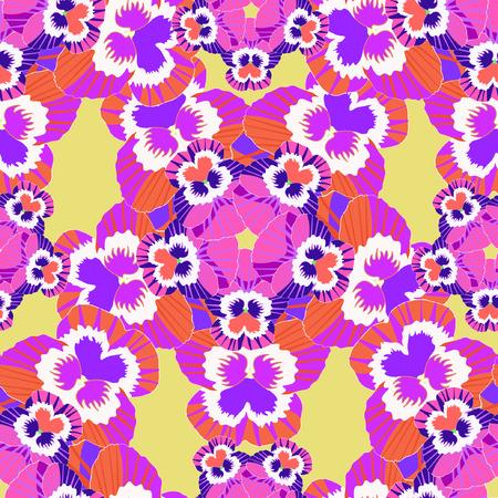 seamless flower pattern pink violet pansies on an orange background vector illustration