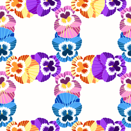 violet flowers: seamless pattern grid violet flowers of pansies vector illustration Illustration