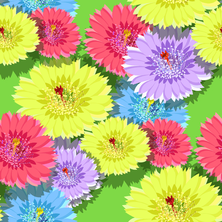 seamless pattern of cactus flowers on a green background vector illustration