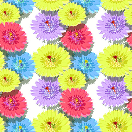 the spikes: seamless pattern of cactus flowers with shadow vector illustration