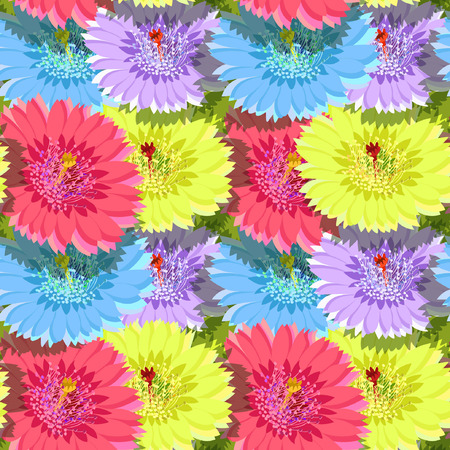 seamless pattern of cactus flowers without gaps vector illustration