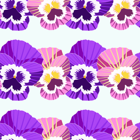 seamless pattern of flowers in rows violet pansies vector illustration