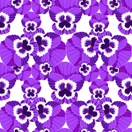 Seamless pattern viola blossoms, pansies vector illustration Illustration