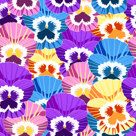 seamless pattern with no gaps violet flowers of pansies vector illustration
