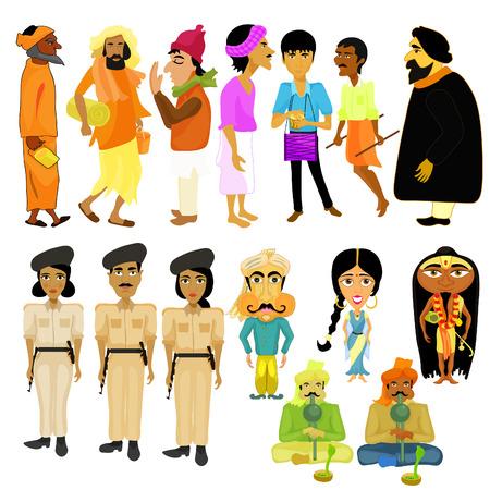 snake charmer: Indian citizens set different policeman vector illustration