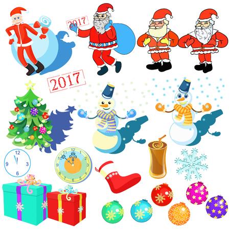 New Year Christmas Day set vector illustration Illustration