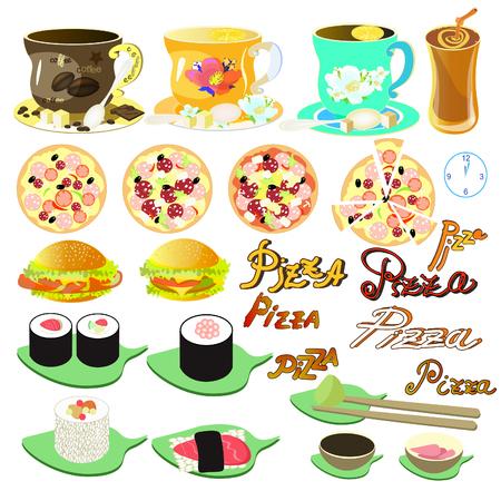 jasmine rice: set of Japanese food, tea, coffee, pizza, burger vector illustration Illustration