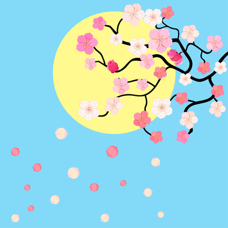 card with blossoms Japanese cherry against the sky vector illustration