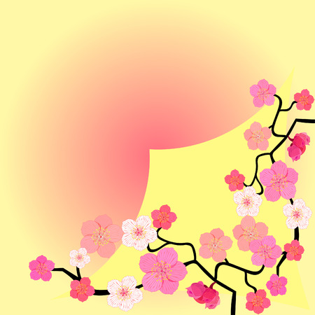greeting card with blooming Japanese cherry vector illustration Illustration