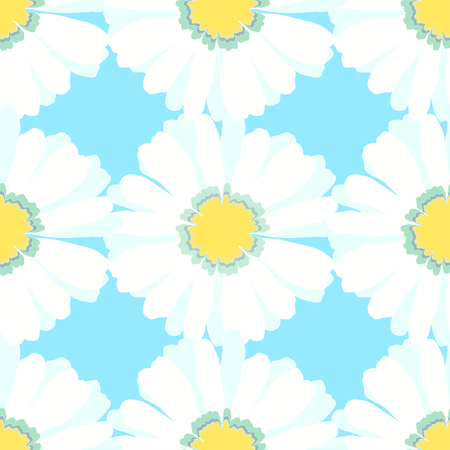chamomiles: macro seamless pattern with chamomiles on blue vector illustration