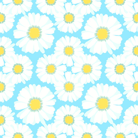 chamomiles: seamless pattern carpet with chamomiles on green vector illustration